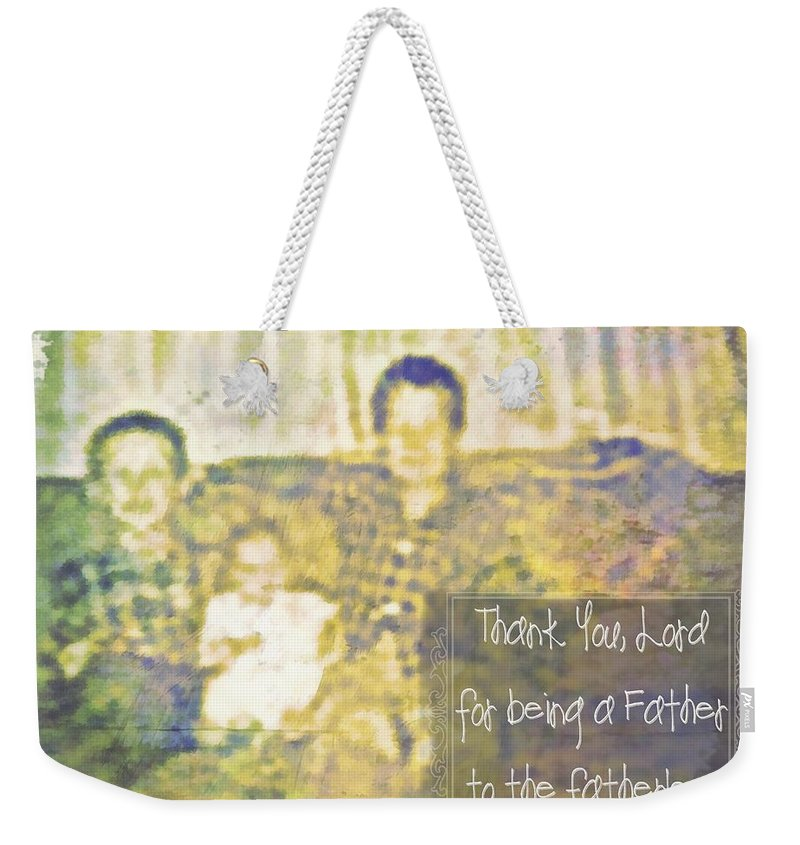 Jesus Weekender Tote Bag featuring the digital art A Father To The Fatherless by Michelle Greene Wheeler
