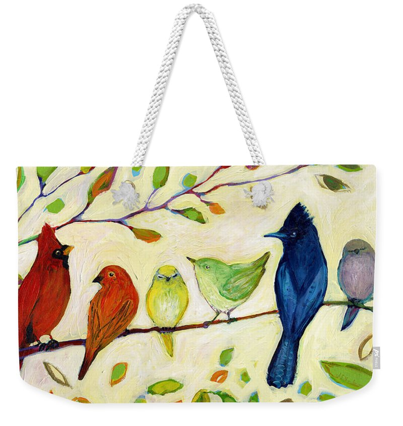 Bird Weekender Tote Bag featuring the painting A Flock of Many Colors by Jennifer Lommers