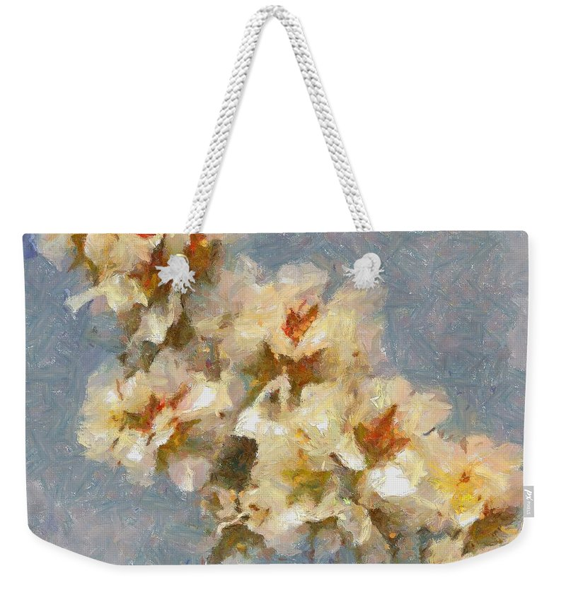 Still Life Weekender Tote Bag featuring the painting A Flourishing Cherry Branch by Dragica Micki Fortuna