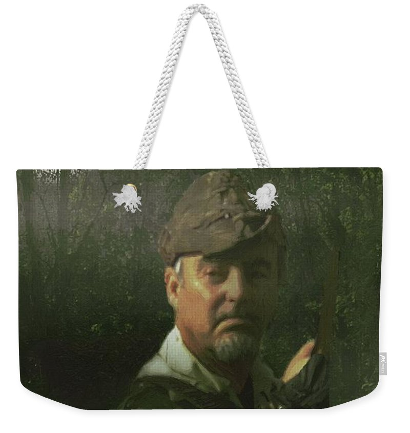 Portrait Weekender Tote Bag featuring the painting A Foggy Night In Sherwood by RC DeWinter