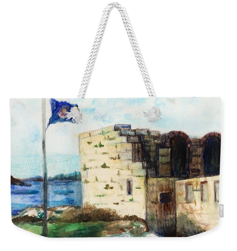Fort Weekender Tote Bag featuring the painting A Fort In Maine by Shana Rowe Jackson