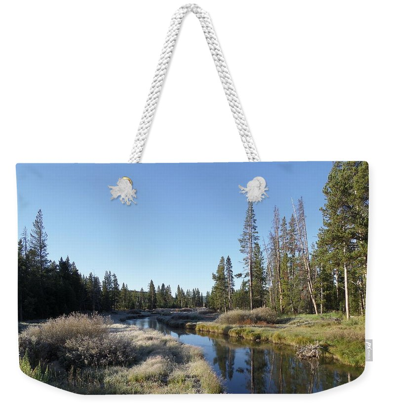 Blue Weekender Tote Bag featuring the photograph A Frosty Morning Along Obsidian Creek by Frank Madia