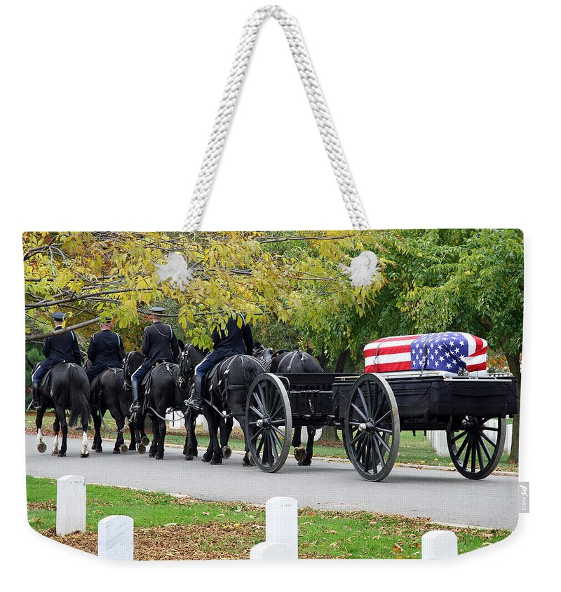 Arlington National Cemetery Weekender Tote Bag featuring the photograph A Funeral In Arlington by Cora Wandel