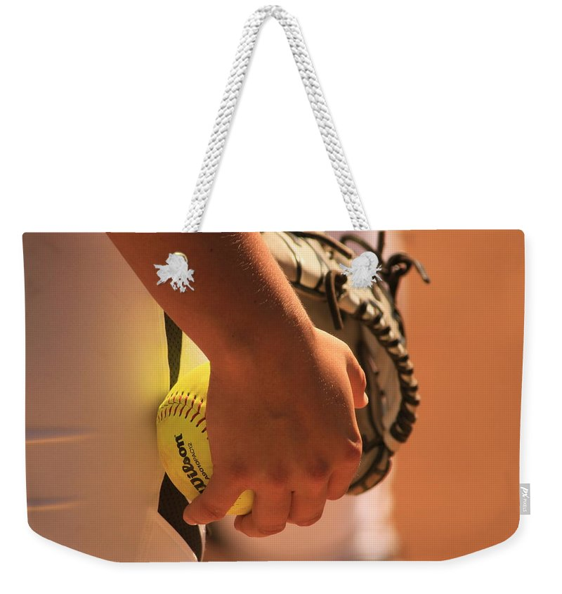 Pitcher Weekender Tote Bag featuring the photograph A Game Of Nuance by Laddie Halupa