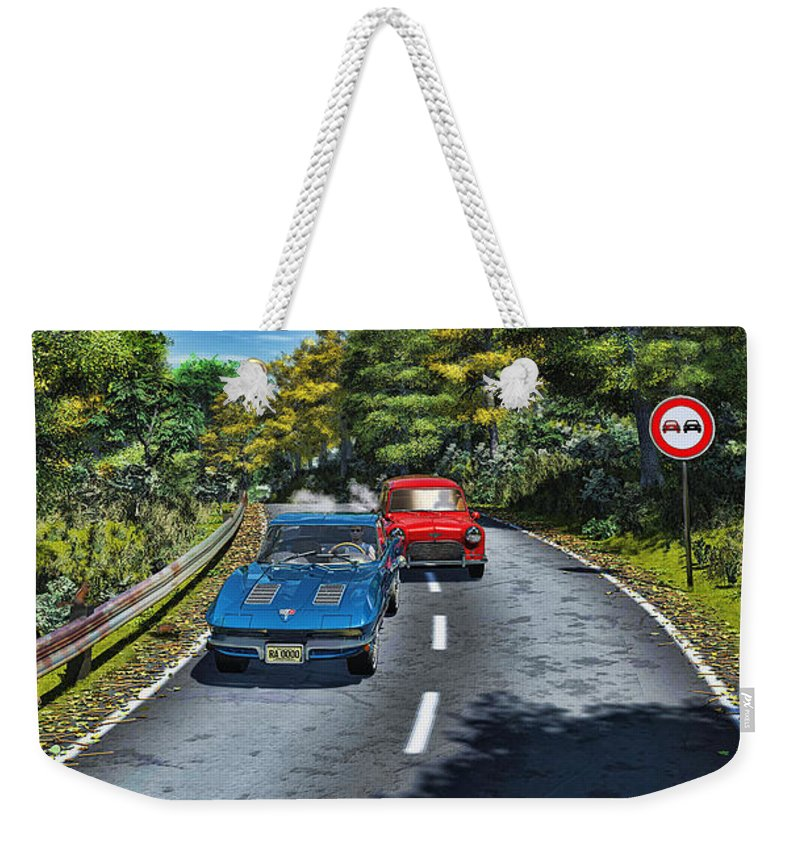 Auto Weekender Tote Bag featuring the digital art A Game Of Tag by Ken Morris