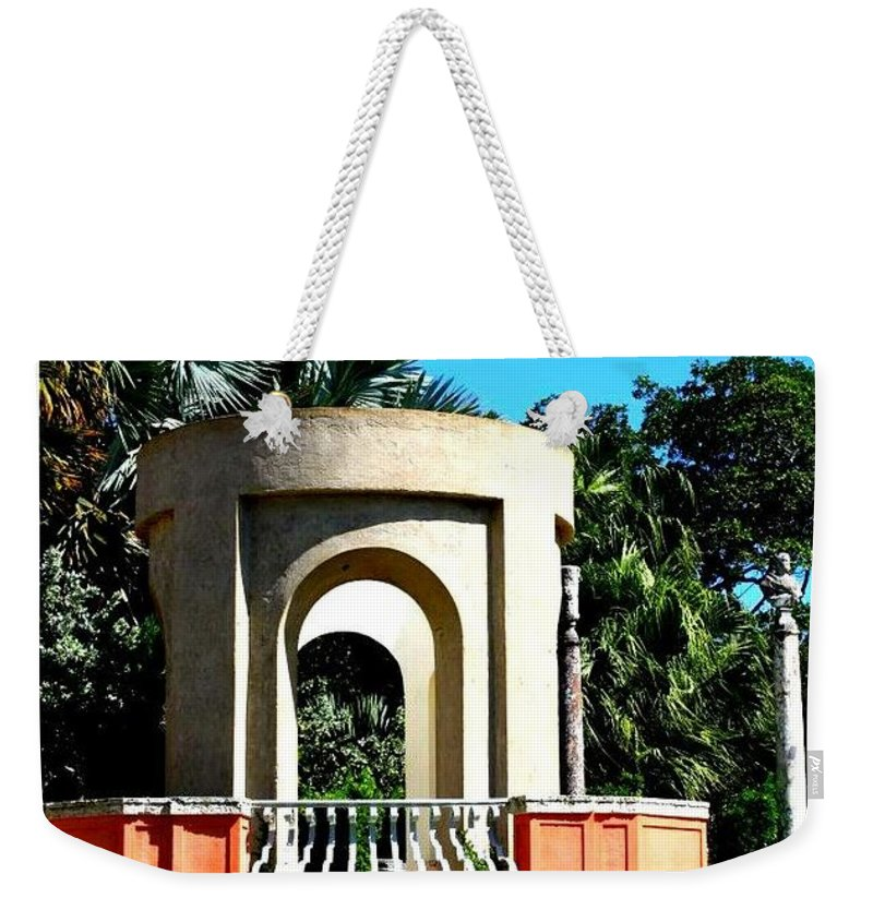 A Garden Balcony At Vizcaya = Florida - Landscapes - Gardens Weekender Tote Bag featuring the photograph A Garden Balcony At Vizcaya by Dora Sofia Caputo Photographic Design and Fine Art