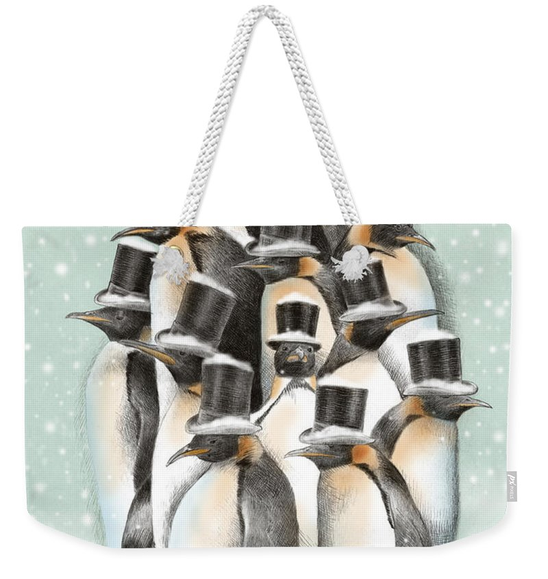 Penguins Weekender Tote Bag featuring the drawing A Gathering in the Snow by Eric Fan