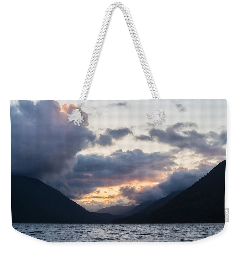 Lake Crescent Weekender Tote Bag featuring the photograph A Gathering by Kristopher Schoenleber
