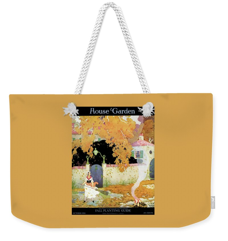 House And Garden Weekender Tote Bag featuring the photograph A Girl Sweeping Leaves by The Reeses