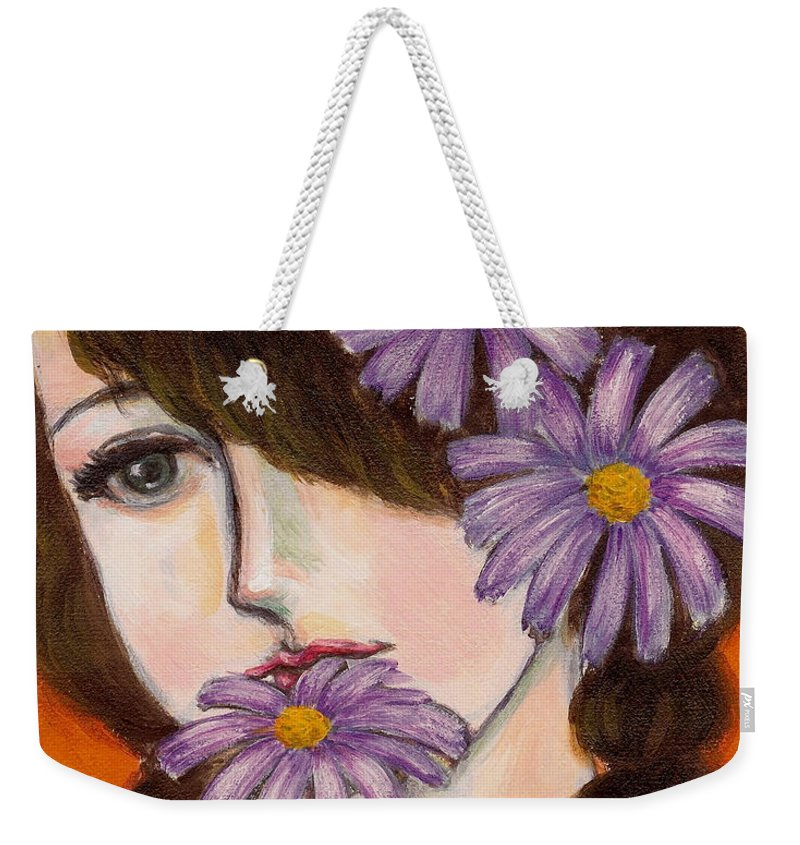Daisy Weekender Tote Bag featuring the painting A girl With Daisies by Jingfen Hwu