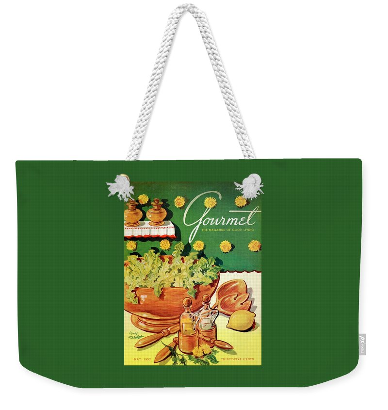 Food Weekender Tote Bag featuring the photograph A Gourmet Cover Of Dandelion Salad by Henry Stahlhut