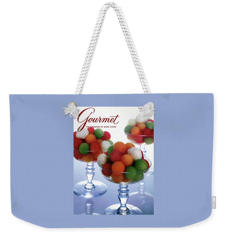 Food Weekender Tote Bag featuring the photograph A Gourmet Cover Of Melon Balls by Romulo Yanes