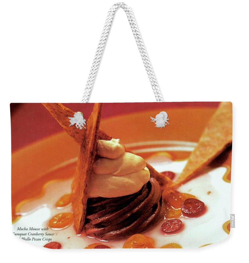 Food Weekender Tote Bag featuring the photograph A Gourmet Cover Of Moch Mousse by Romulo Yanes