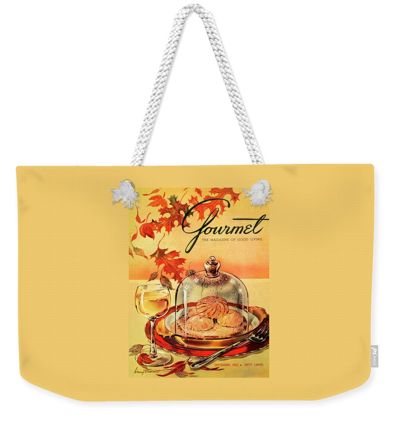 Illustration Weekender Tote Bag featuring the photograph A Gourmet Cover Of Mushrooms On Toast by Henry Stahlhut