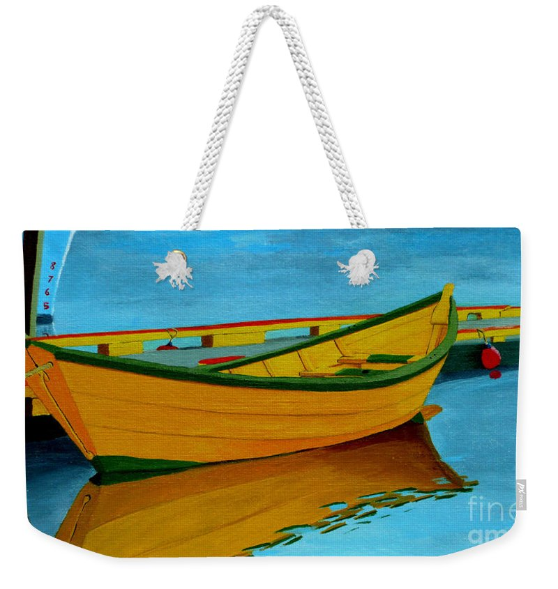 Grand Banks Weekender Tote Bag featuring the painting A Grand Banks Dory by Anthony Dunphy