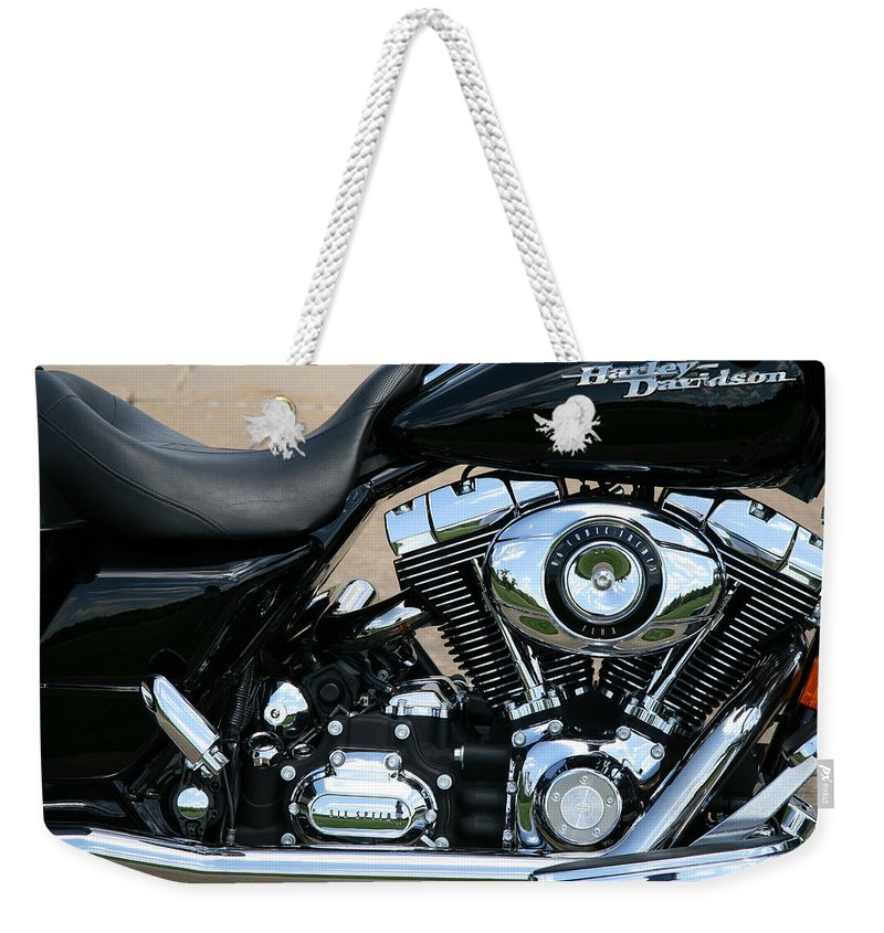 Harley Weekender Tote Bag featuring the photograph A Harley In Arlington by Cora Wandel