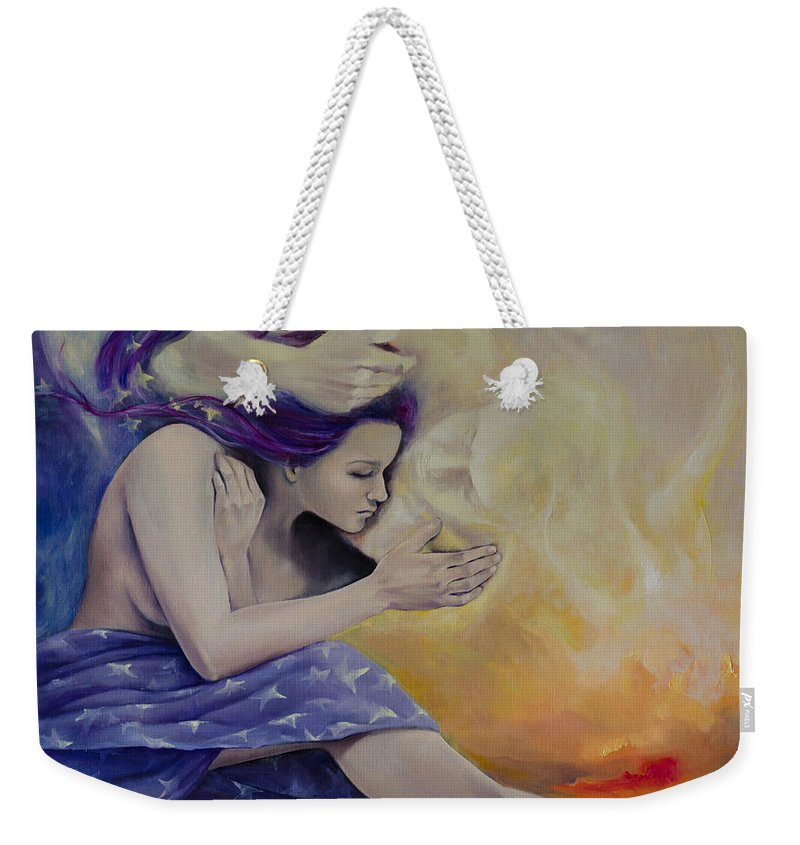Fantasy Weekender Tote Bag featuring the painting A Heaven For Two by Dorina Costras