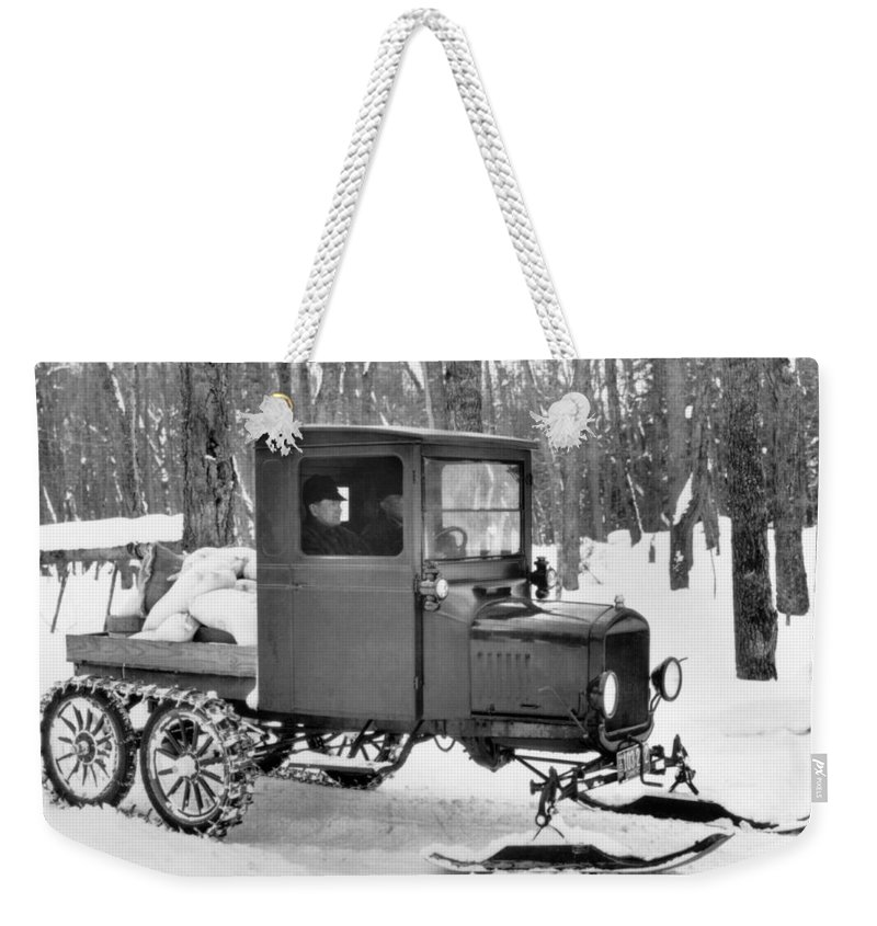 1920's Weekender Tote Bag featuring the photograph A Homemade Snowmobile by Underwood Archives