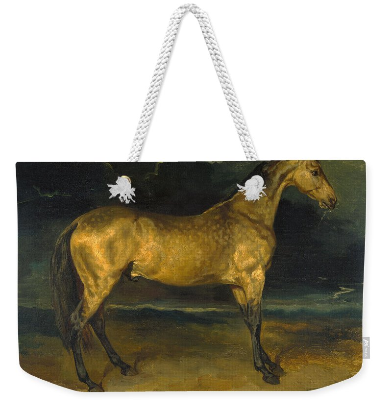 Jean-louis-andre-theodore Gericault Weekender Tote Bag featuring the painting A Horse Frightened By Lightning by Jean-Louis-Andre-Theodore Gericault