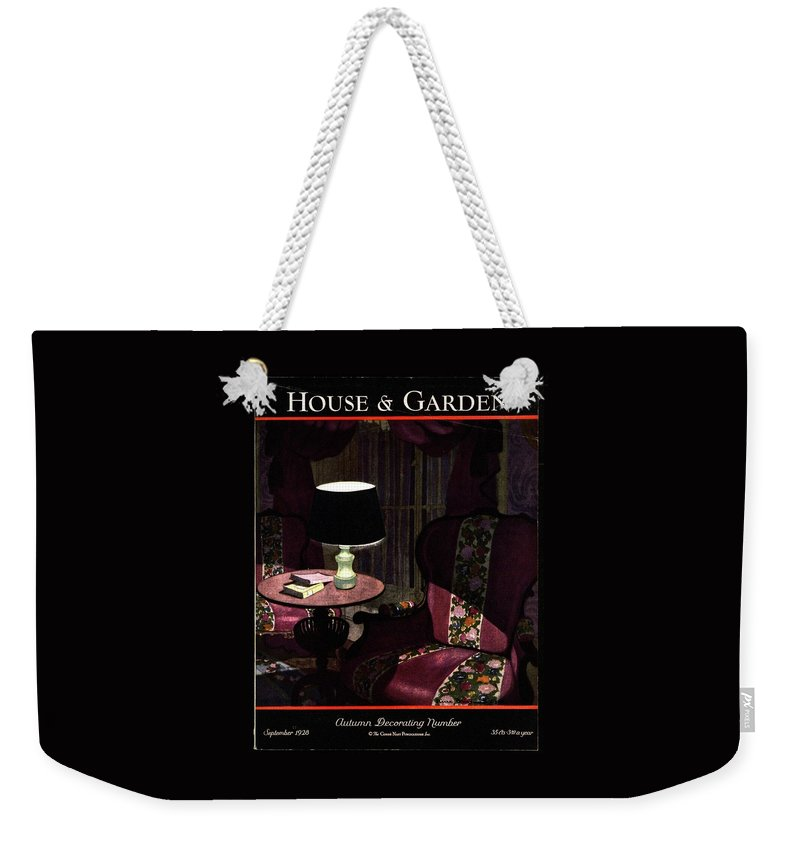 Illustration Weekender Tote Bag featuring the photograph A House And Garden Cover Of A Lamp By An Armchair by Pierre Brissaud
