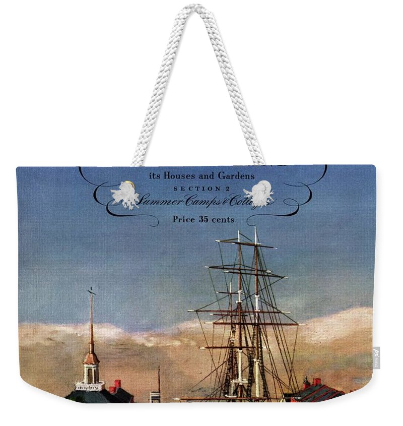 Illustration Weekender Tote Bag featuring the photograph A House And Garden Cover Of A Model Ship by Louis Bouche