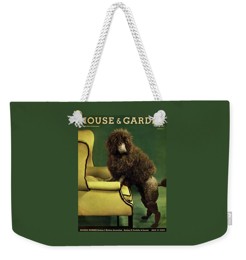 Illustration Weekender Tote Bag featuring the photograph A House And Garden Cover Of A Poodle by Anton Bruehl