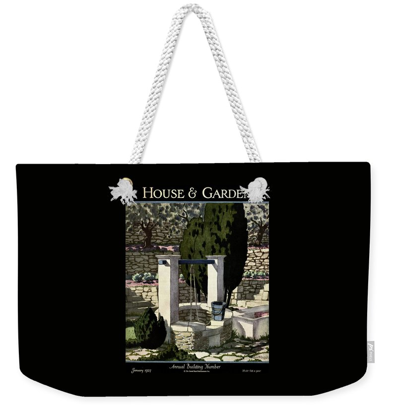 Illustration Weekender Tote Bag featuring the photograph A House And Garden Cover Of A Well by Pierre Brissaud