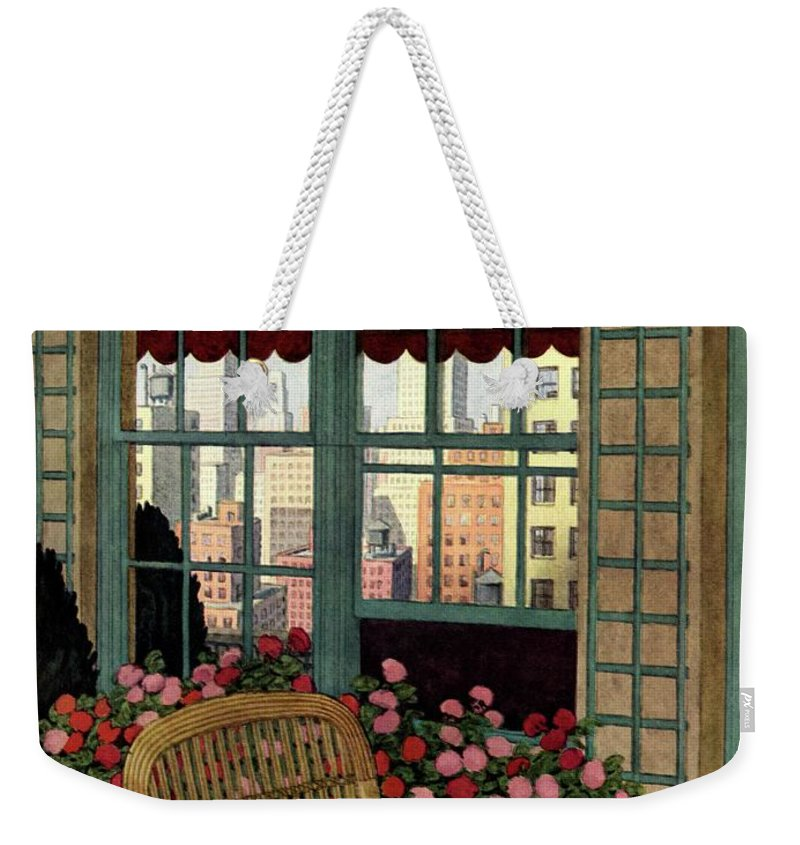Illustration Weekender Tote Bag featuring the photograph A House And Garden Cover Of A Wicker Chair by Pierre Brissaud
