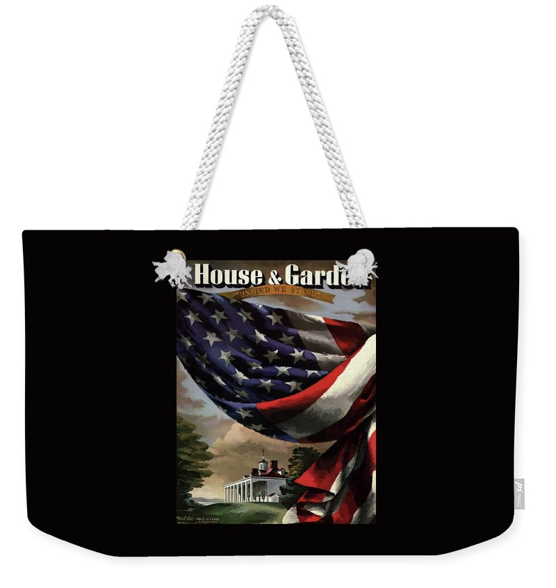 Illustration Weekender Tote Bag featuring the photograph A House And Garden Cover Of An American Flag by Allen Saalburg