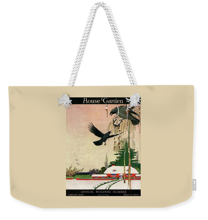 Illustration Weekender Tote Bag featuring the photograph A House And Garden Cover Of Crows By A House by Charles Livingston Bull