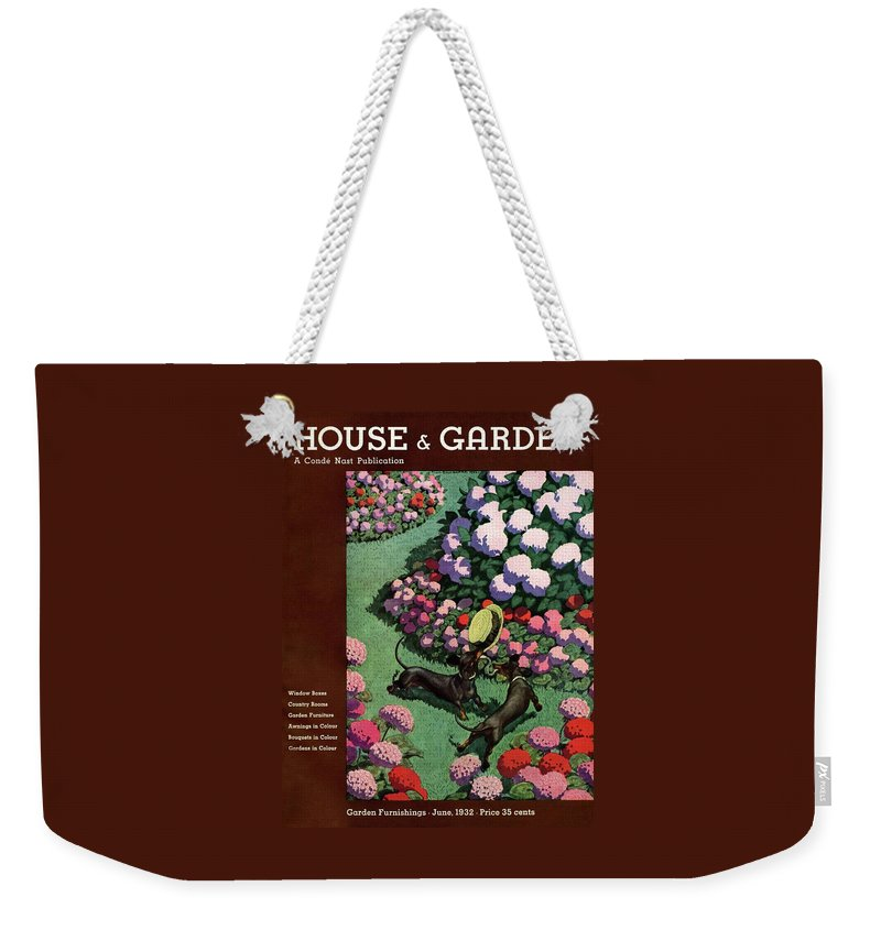 Illustration Weekender Tote Bag featuring the photograph A House And Garden Cover Of Dachshunds With A Hat by Pierre Brissaud