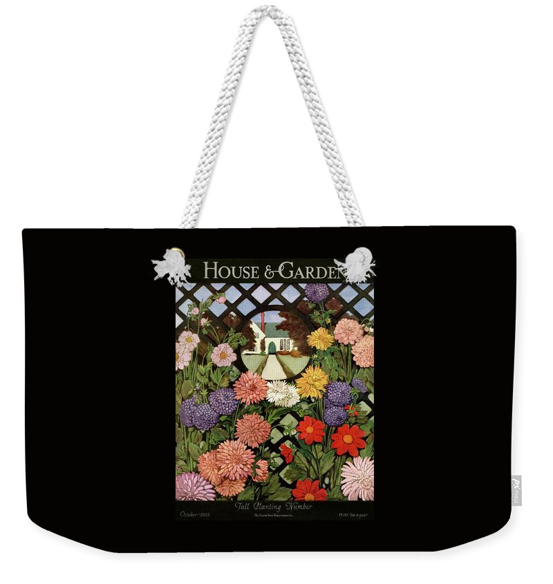 Illustration Weekender Tote Bag featuring the photograph A House And Garden Cover Of Flowers by Ethel Franklin Betts Baines