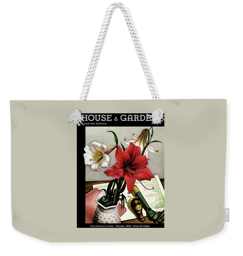 Illustration Weekender Tote Bag featuring the photograph A House And Garden Cover Of Lilies by Edna Reindel