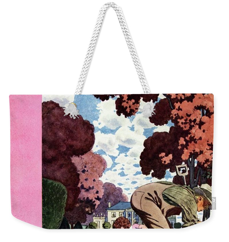 Illustration Weekender Tote Bag featuring the photograph A House And Garden Cover Of People Gardening by Pierre Brissaud