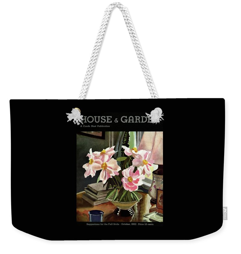 Illustration Weekender Tote Bag featuring the photograph A House And Garden Cover Of Rhododendrons by David Payne