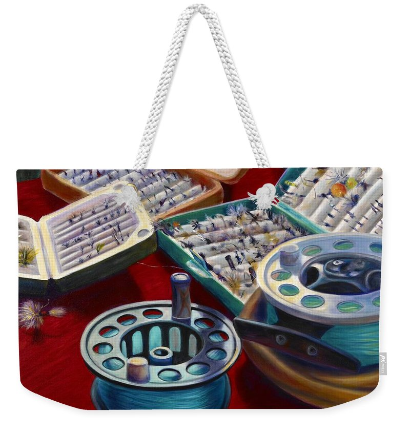 Still Life Weekender Tote Bag featuring the painting A Howard Runs Through It by Shannon Grissom