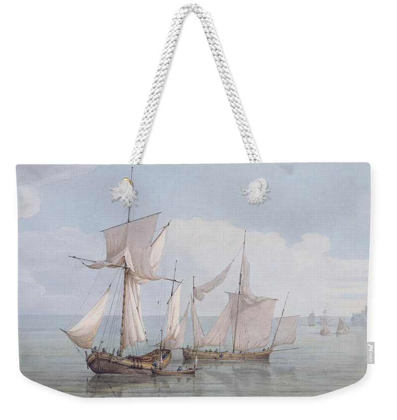 Boat Weekender Tote Bag featuring the painting A Hoy And A Lugger With Other Shipping On A Calm Sea by John Thomas Serres