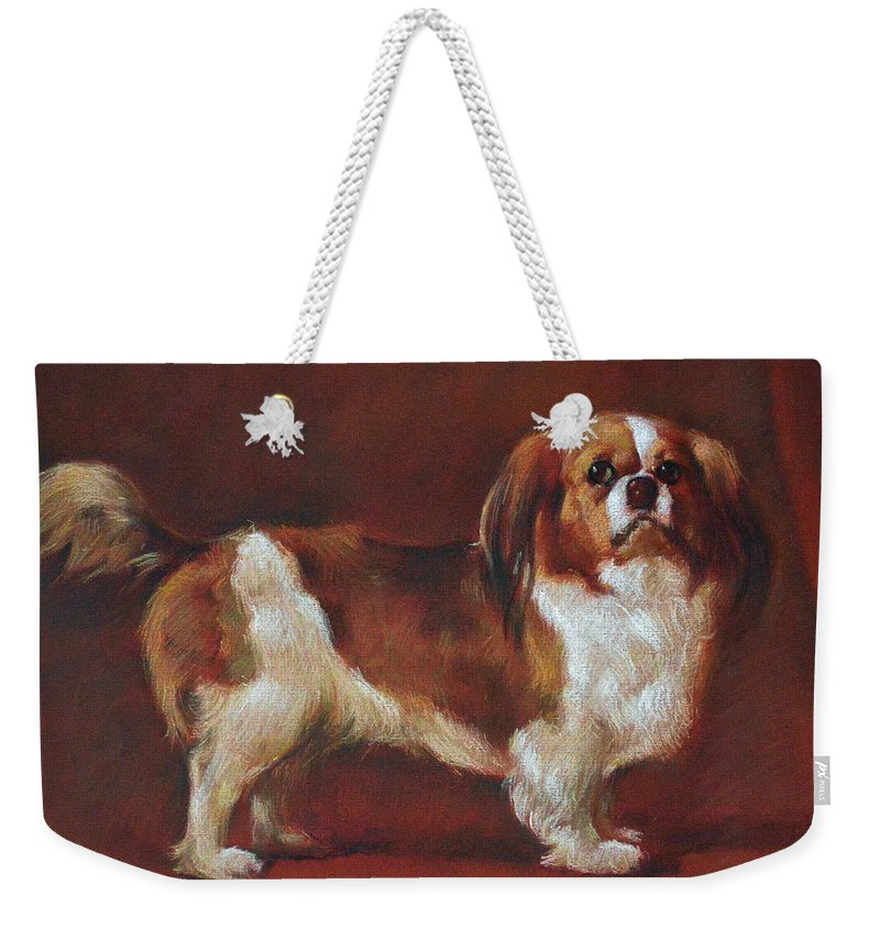 Pastel Weekender Tote Bag featuring the pastel A King Charles Spaniel by Iliyan Bozhanov