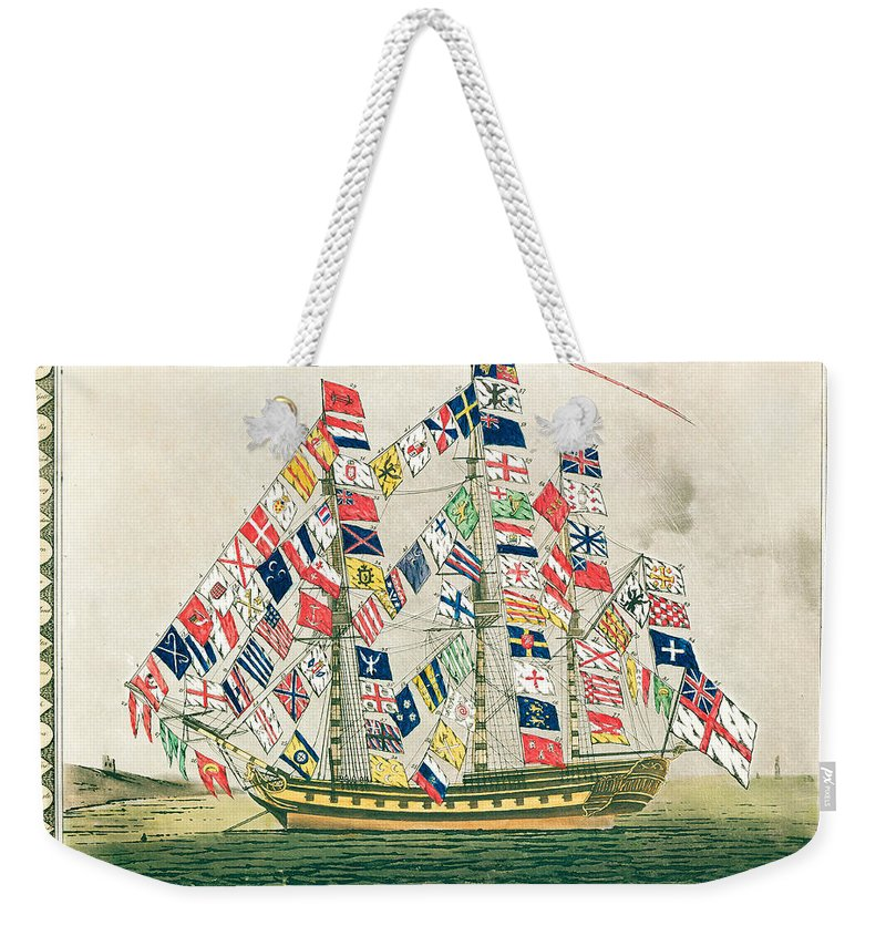 Vessel; Sailing Ship; Flag; National Flags; Standard; National; Identification; Identity; Symbol; Symbols; Ensign; Banner; Emblem; Mast; Flagship; United; Nations; Diverse; Diversity; Cheerful; Jolly; Harmony Weekender Tote Bag featuring the painting A King S Ship Dressed With The Colours Of Different Nations 6th October 1794 by English School