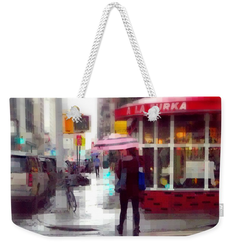 Bar Weekender Tote Bag featuring the photograph A La Turka In The Rain - Restaurants Of New York by Miriam Danar