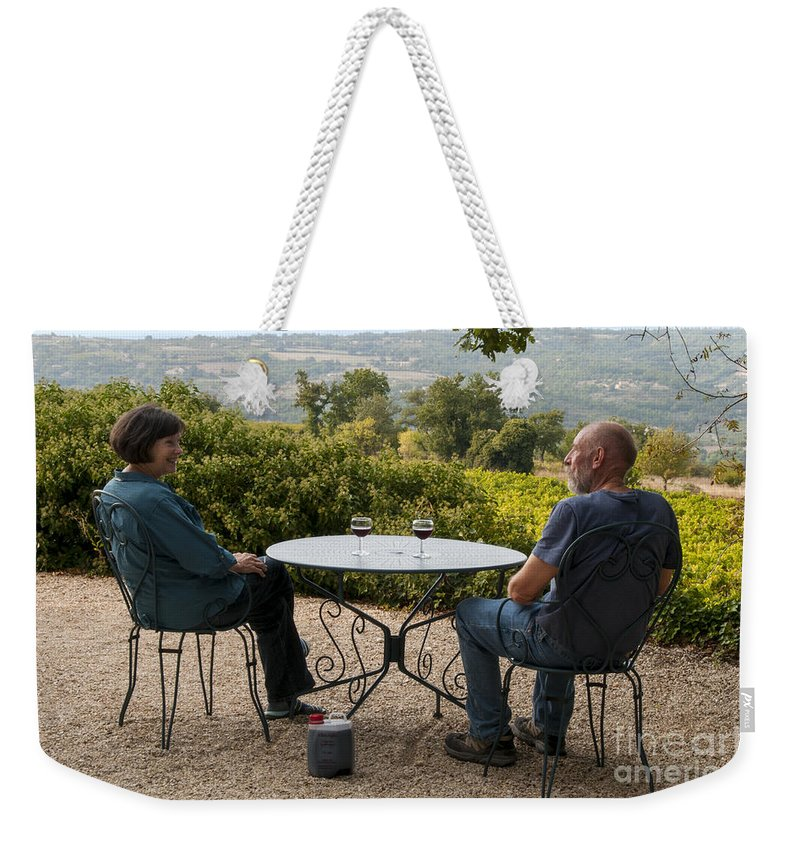 Self Portrait Weekender Tote Bag featuring the photograph A Little More Wine Please by Bob Phillips