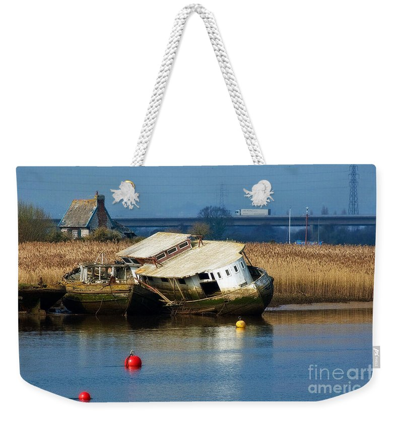 Old Boats Weekender Tote Bag featuring the photograph A Little Tlc Needed by Susie Peek