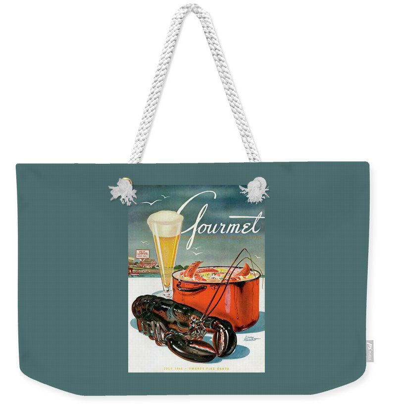 Illustration Weekender Tote Bag featuring the photograph A Lobster And A Lobster Pot With Beer by Henry Stahlhut