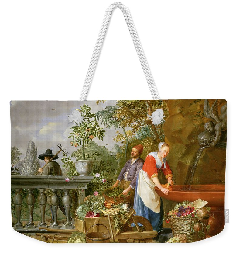 Carrot Weekender Tote Bag featuring the painting A Maid Washing Carrots At A Fountain by Nicolaas or Nicolaes Muys