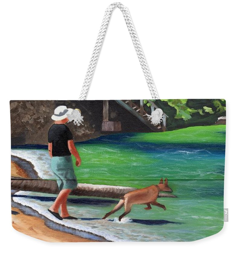 Man Weekender Tote Bag featuring the painting A Man And His Dog by Laura Forde