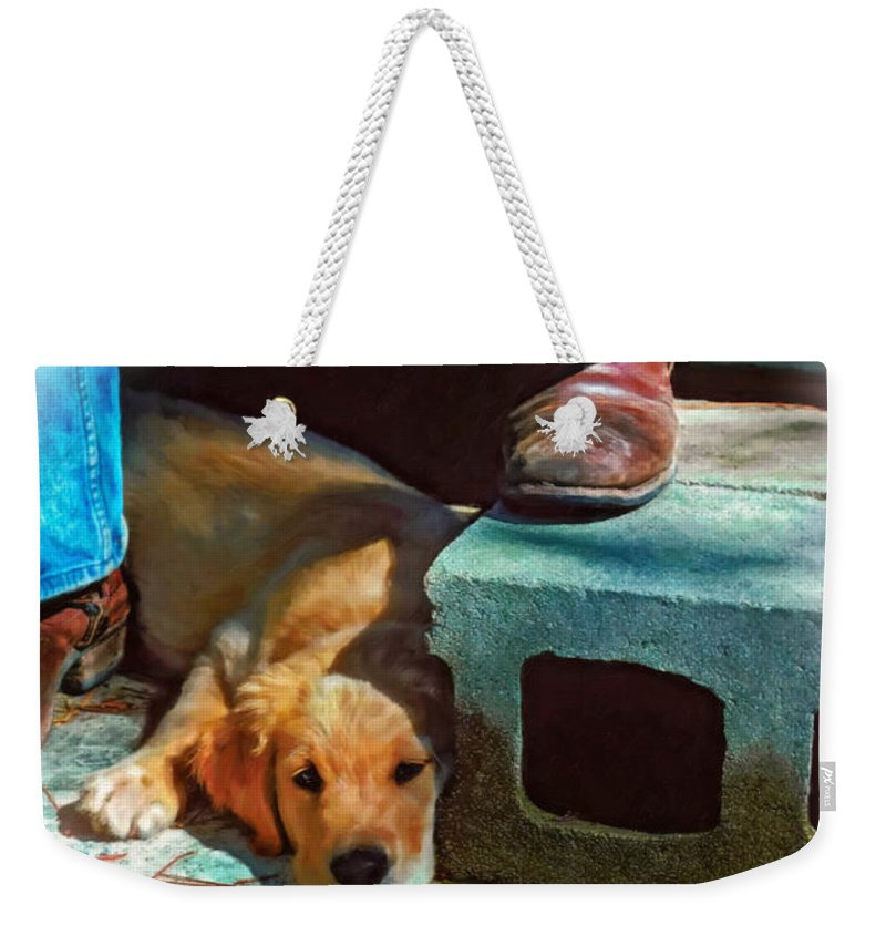 Dog Weekender Tote Bag featuring the photograph A Man And His Dog Oil by Steve Harrington