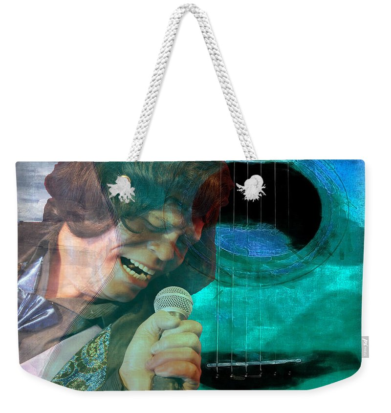 Guitar Weekender Tote Bag featuring the photograph A Man And His Music - James Brown Featured In 'abc Group' And Comfortable Art Group by Ericamaxine Price