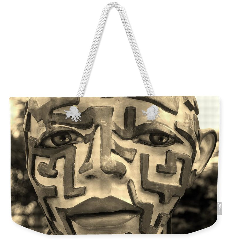 Maze Weekender Tote Bag featuring the photograph A Maze Ing Face Sepia by Rob Hans