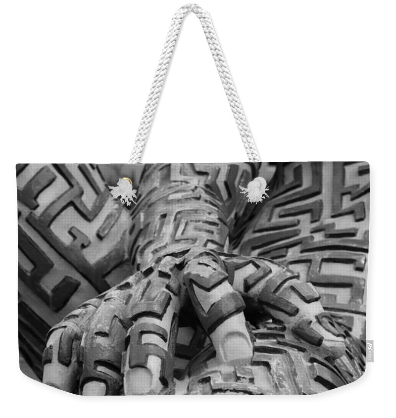 Maze Weekender Tote Bag featuring the photograph A Maze Ing Man 4 Black And White by Rob Hans