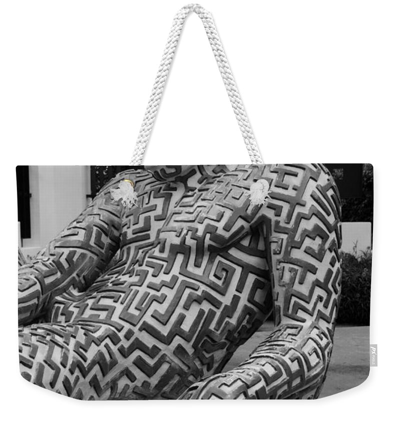 Maze Weekender Tote Bag featuring the photograph A Maze Ing Man 5 Black And White by Rob Hans